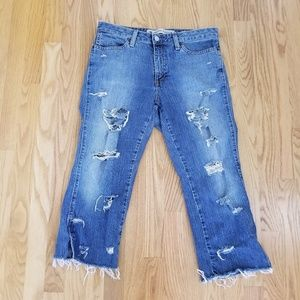Gap   Cropped Boot Cup Distressed Jeans